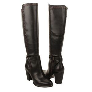 UGG Claudine tall leather heel boots sherpa lined
